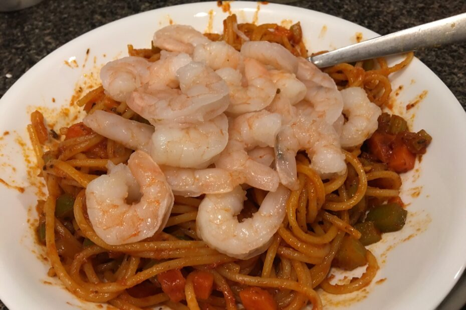 Creole Spaghetti with Cooked Shrimp