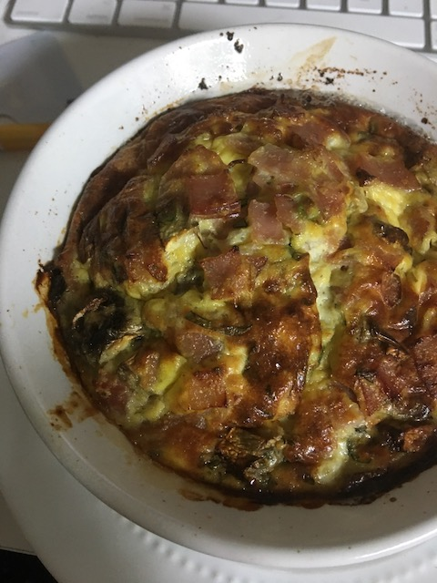 Baked egg dish showing the crusty golden top.